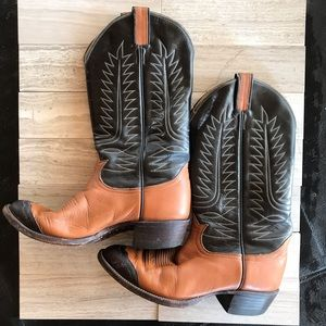 VTG Tony Lama Brown 2Tone Leather Cowgirl Boots
